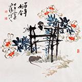 【已售】河南美协王向阳四尺斗方《百年好合》(询价)