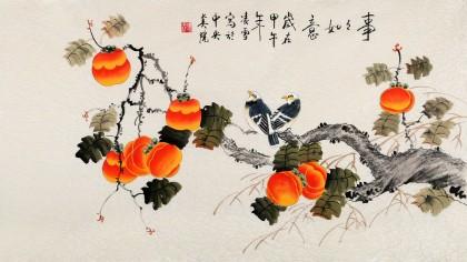 北京美协凌雪三尺柿子画《事事如意》