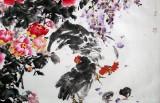 【已售】著名花鸟画家曲逸之小八尺《富贵吉祥图》