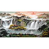 【已售】宁良成六尺聚宝盆风水画《旭日东升》