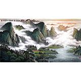 【已售】张慧仁六尺精品山水《春山半是云》