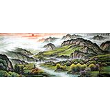 【已售】宁良成小八尺聚宝盆风水画《宝潭聚财》