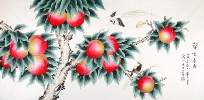 北京美协凌雪四尺桃子《馨香长寿》