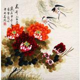 北京美协凌雪四尺斗方牡丹画《花开富贵》