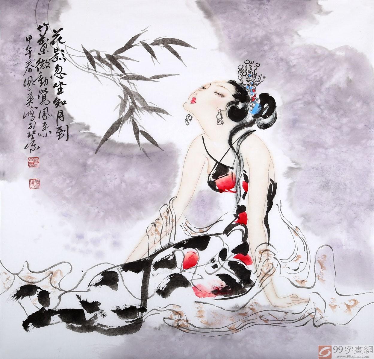 李凤英古代国画美女图 - 仕女图 - 99字画网