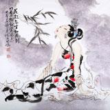 【已售】李凤英四尺斗方仕女《花好月圆》