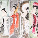 【已售】北京美协李凤英四尺条屏《四大美人》