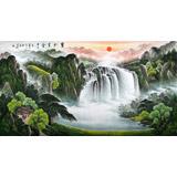吴东六尺聚宝盆山水画《宝地生金》