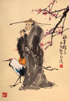 河南美协董书林作品《梅妻鹤子》