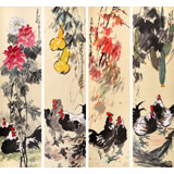 刘纪 精品四条屏《大吉图》 河南著名老画家