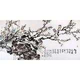 著名花鸟画家曲逸之四尺《墙角数枝梅》