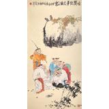 【已售】河南美协董书林四尺人物国画《天伦之乐 》