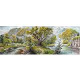 【已售】大尺寸朝鲜国画《湖边垂钓》