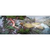小八尺朝鲜国画《山村的风景》