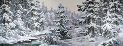 大尺寸朝鲜国画《林海雪韵》