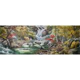 小八尺朝鲜国画《在瀑布下》