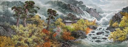 小八尺朝鲜国画《七宝山的溪谷》