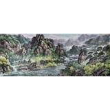 小八尺朝鲜国画《七宝山千佛峰的夏天》