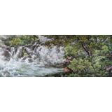 【已售】朝鲜画家 安恩晶 大尺寸国画《瀑布》