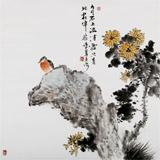 【已售】河北美协王占海四尺斗方《花伴茶香》