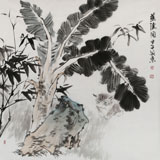 中国美协会员张延东四尺斗方《蕉阴图》