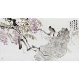 中国美协会员张延东三尺《紫藤拂花树》