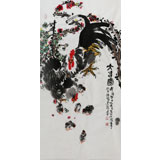 【已售】著名花鸟画家曲逸之 四尺雄鸡国画《大吉图》