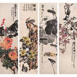 【已售】曲逸之 四条屏《富贵大吉》 中国美术学院著名花鸟画家