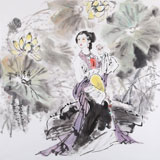 【已售】当代著名写意人物画家 魏志平四尺斗方《荷塘清风》