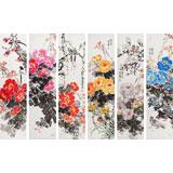 【已售】著名花鸟画家曲逸之精品 牡丹六条屏