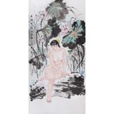 【已售】当代著名写意人物画家 魏志平四尺《荷塘月影》