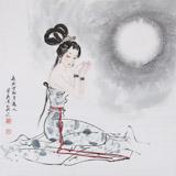 【已售】北京美协会员李凤英 四尺斗方《夜吟方知月近人》