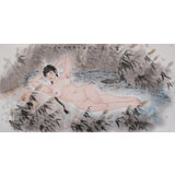【已售】当代著名写意人物画家 魏志平四尺《芦花荡》