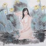 【已售】当代著名写意人物画家 魏志平四尺斗方《香荷图》