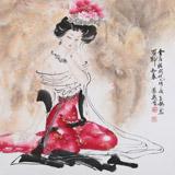 【已售】北京美协会员李凤英 四尺斗方《金屋妆成娇侍夜》