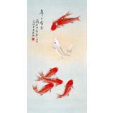 北京美协凌雪 三尺鲤鱼国画《年年有余》