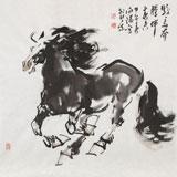 【已售】王向阳四尺斗方《骏马奔腾伴春来》