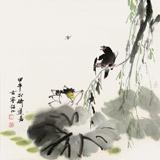 【已售】花鸟画名家李绍山 四尺斗方《荷塘清趣》