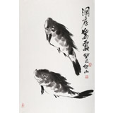 花鸟画名家李绍山 四尺三开水墨鱼《洞底惊雷》