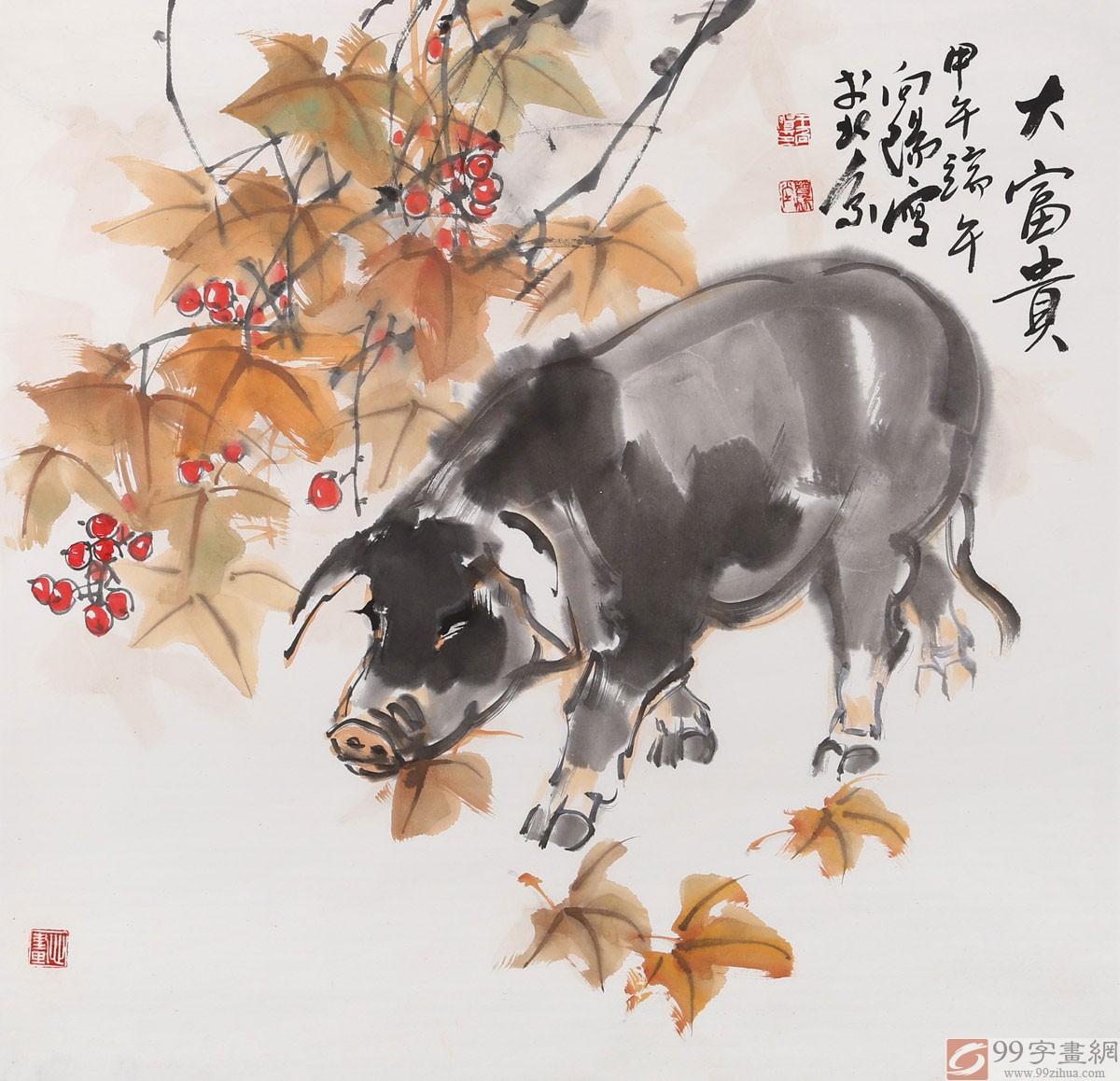 国画猪_河南美协王向阳 四尺斗方国画猪《大富贵》 - 动物画