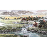 【已售】朝鲜画家姜有正 四尺《故乡的溪水声》