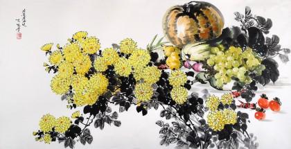 朝鲜画家金珍香 四尺《秋实》