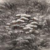 名家赵金鸰四尺斗方雪景图《浸入暮色的山村》(询价)
