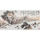 李明成三尺写意山水画《狮子口》