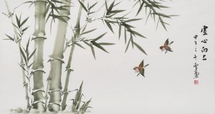 安徽美协何华贤 三尺竹子画《虚心向上》 - 竹