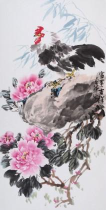 河北著名老花鸟画家刘卓华四尺《富贵吉祥》