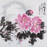【已售】名家刘卓华四尺斗方《花好月圆》