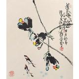 【已售】名家王永刚小尺寸手指画《莲趣图》(询价)