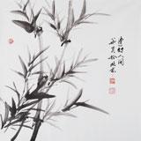 【已售】三尺斗方竹子画《清竹人间》