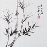 【已售】三尺斗方竹子画《高风亮节》